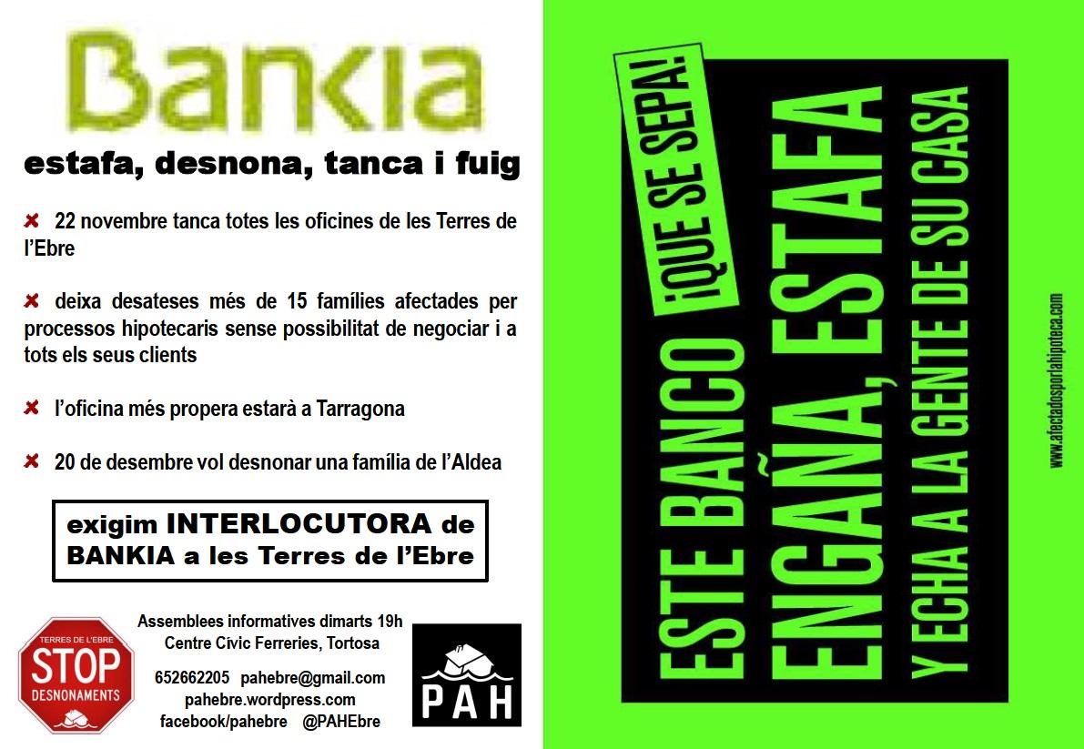 La PAH Ebre ocupa les oficines de Bankia a #Tortosa