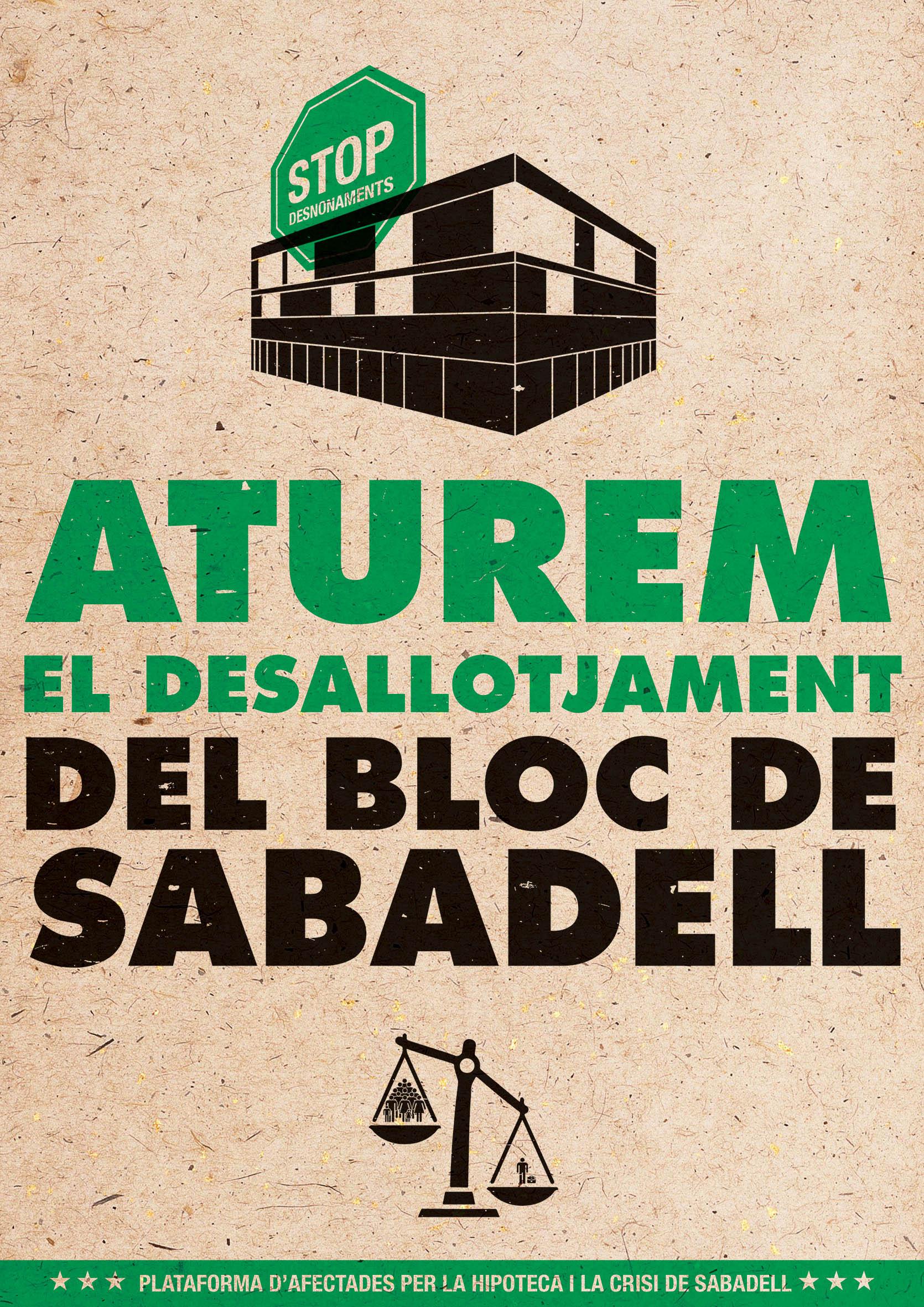 Aturem el desallotjamemt del #BlocSabadell. @PAH_Sabadell