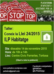 Dissabte #14N Taller d'aplicació de la Llei 24/2015 @ILPhabitatge a #Tortosa