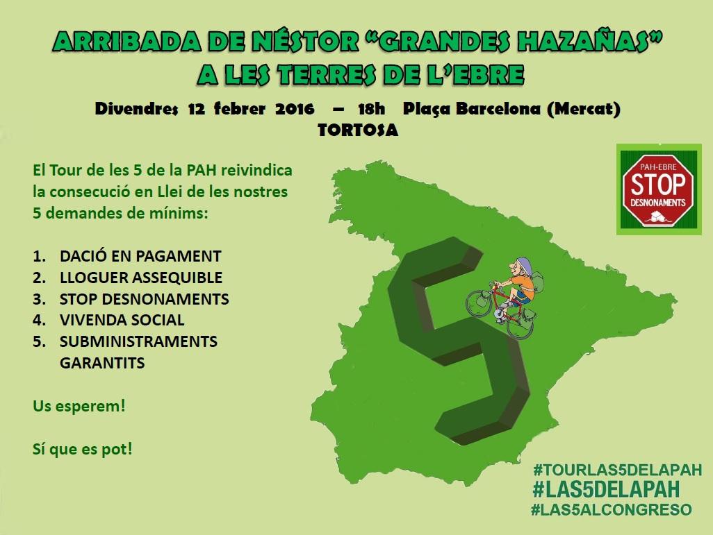 Convocatòria: Rebuda a Tortosa la «Volta a Espanya Llei les 5 de la PAH» #Tourlas5delaPAH #las5alCongreso