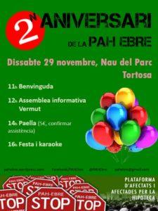 Dissabte celebrem el nostre 2n aniversari a la Nau del Parc de #Tortosa #2anysdePAHEbre