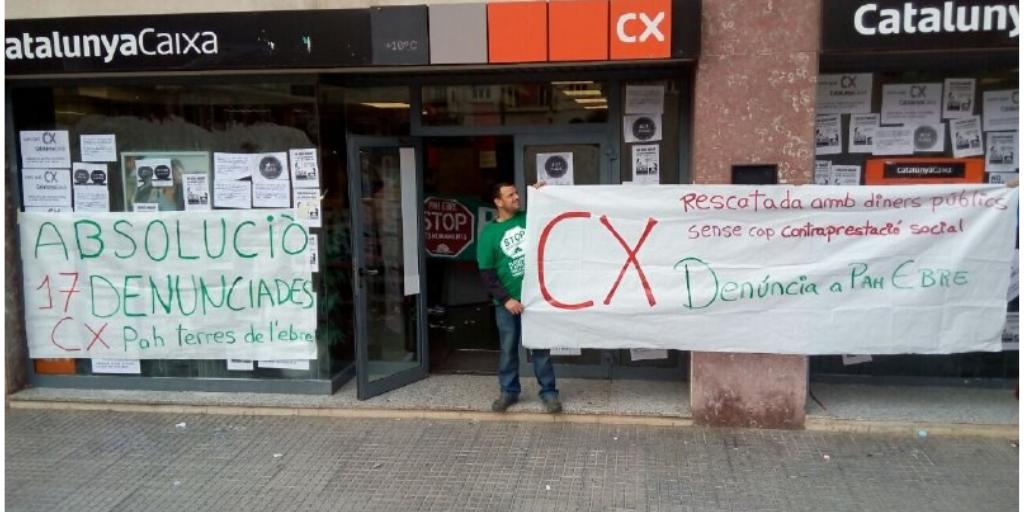 Accions avui a @CXinfo i @BBVA de #Tortosa per #BlackstoneEvicts i #17comPAHsVsCX