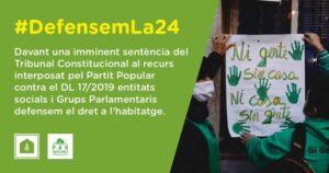 ¡Defendamos la Ley 24/2015! Exigimos al PSOE que la blinde urgentemente con un acuerdo bilateral Estado-Generalitat, antes de que el Tribunal Constitucional emita sentencia!
