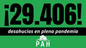 29.406 desahucios en 2020, son un claro fracaso de las medidas del Gobierno